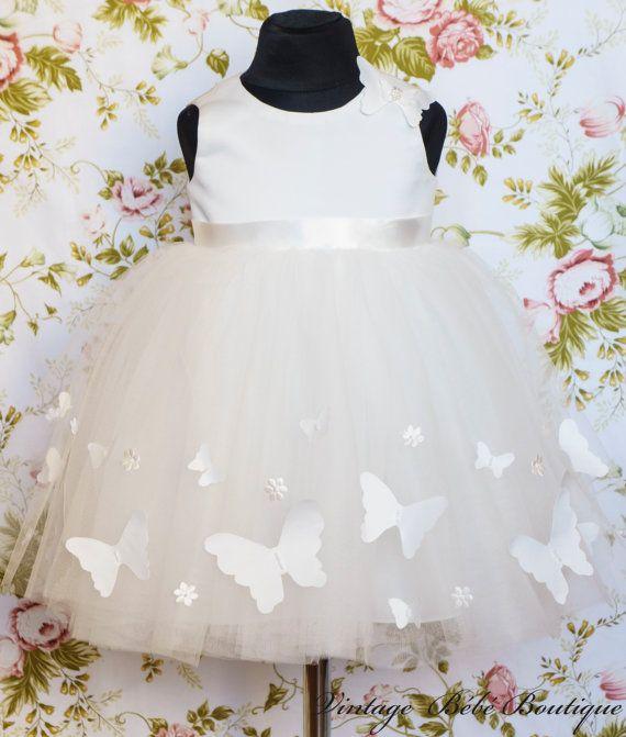 Christening dress Flower girl dress Girl by VintageBebeBoutique, $120.00