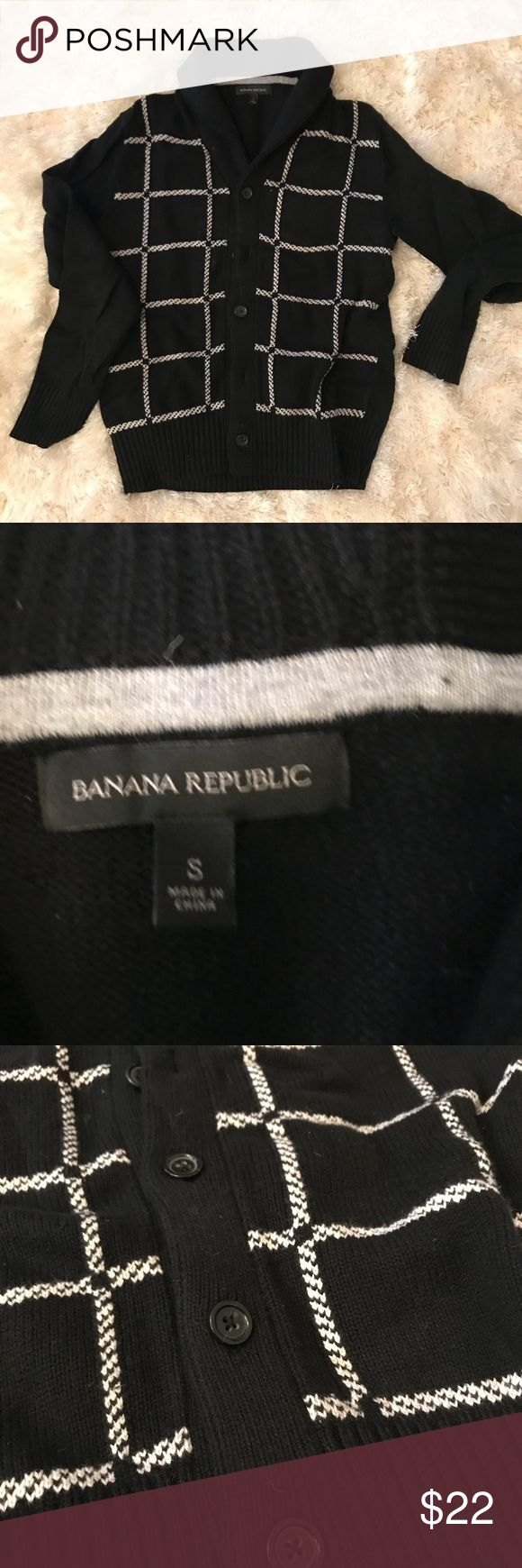 Banana Republic Shawl Neck Sweater Forget Mr Rogers and just be Mr Who. This is a super nerdy dope sweater. Be the envy of everyone at Bible study.  Shawl Cardigan with 5 buttons, so it'll fit even after you eat all the pot roast. Super flattering grid design.  If you have never own Banana Republic, their sizes do run a little big and this fits like a medium does in other brands that aren't as studly. Banana Republic Sweaters Cardigan