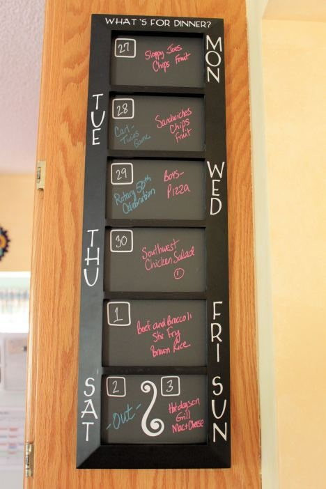 Here is an idea for a menu board, but it needs some pizzaz, like cute scrapbook paper behind it.