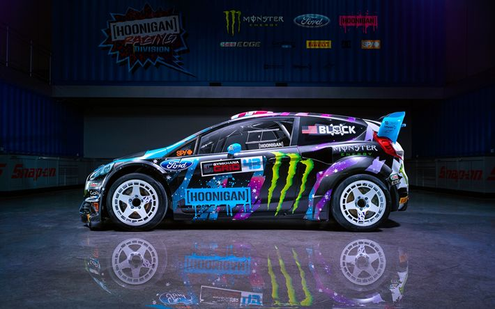 Download wallpapers Ford Fiesta ST RX43, drift cars, 2017 cars, 4k, M-Sport, tuning, Ford Fiesta