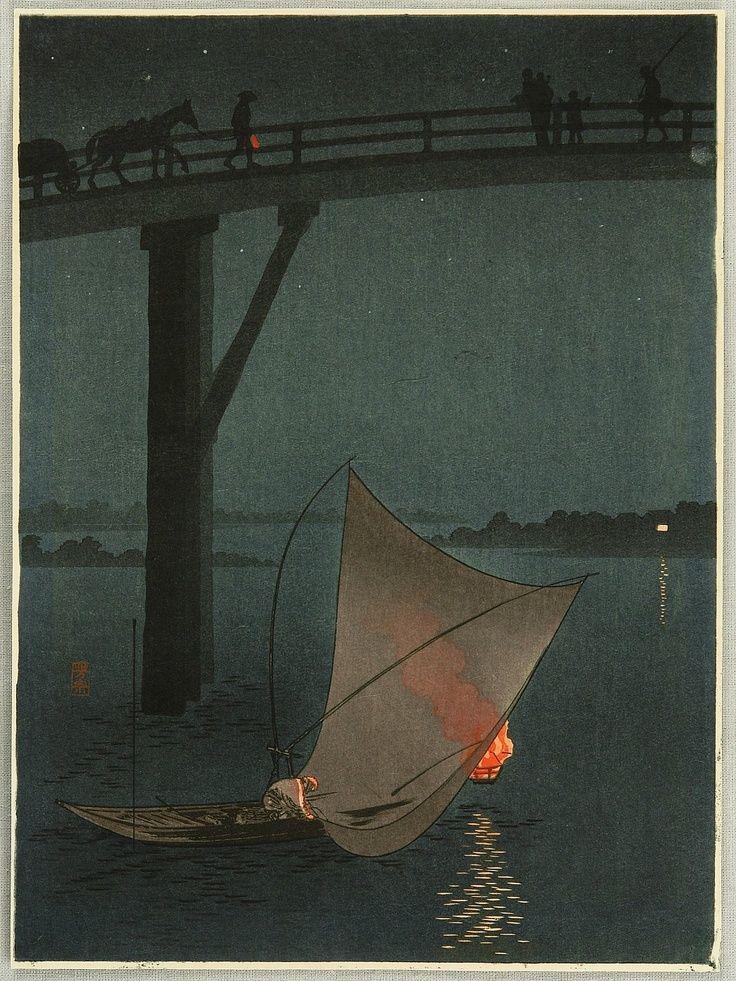 """"""" Yoshimune Arai - Bridge in Twilight, ca 1900-1910 """""""