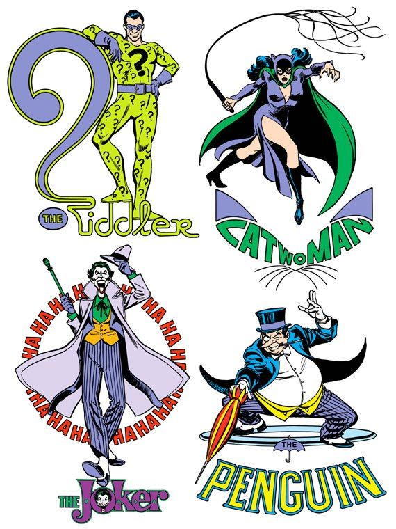 The Riddler, Catwoman, The Joker, & The Penguin by José Luis García-López from the 1982 DC Comics Style Guide