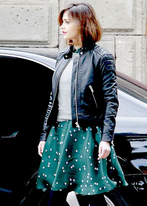 """Jenna Coleman on the set of Doctor Who"""