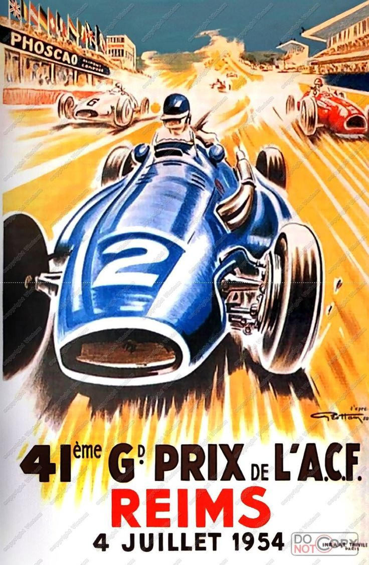 Gei Ham 1954 Reims Grand Prix poster