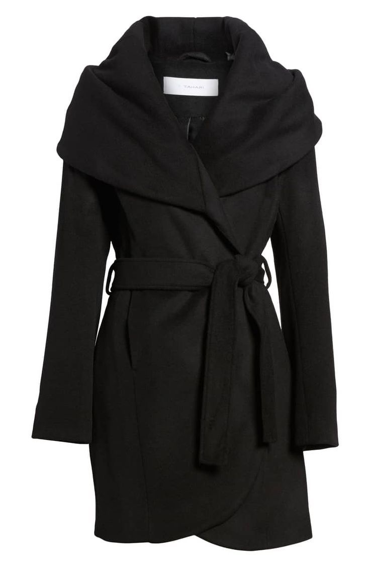 cbb9479d6c6c6 T Tahari Wool Blend Belted Wrap Coat,. A shoulder-draping shawl collar  brings face-framing drama to a warm wool-blend wrap coat in a versatile  length with a ...