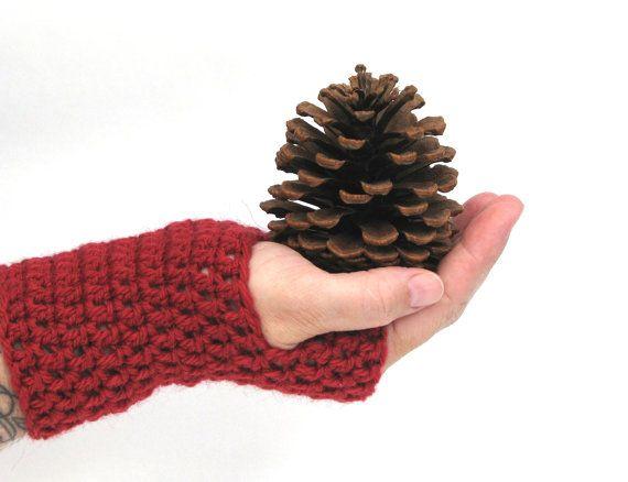 Fingerless Gloves Crochet Gloves Wrist by AGirlNamedMariaDK #wrist #arm #warmer #warmers #glove #gloves #fingerless #mitten #mittens #mitts #wool #alpaca #crochet #crocheted #chunky #warm #red #cranberry #berry #cherry #scarlet