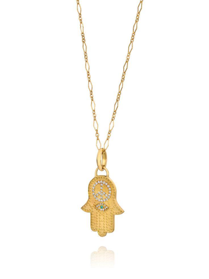 Lilly Street 18k Diamond Hamsa Evil Eye Pendant Necklace at London Jewelers!
