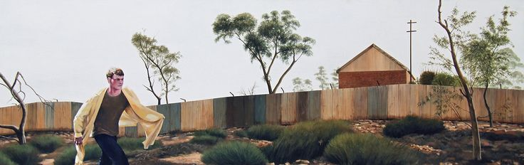 People Proof Fence Rex Turnbull © 2013 50 x 150cm Acrylic on canvas