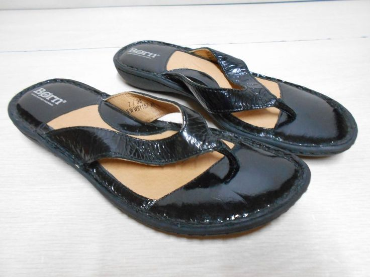 SIZE 7 Women's Black Patent Leather Flip Flops by Born W/Large Toe Thongs #Brn #FlipFlops