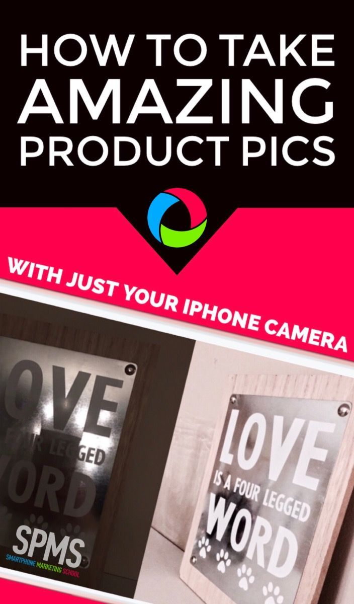 You'll be amazed at the great product photos you can take with just your iPhone camera app - even without great lighting! Get the detailed tutorial and a free checklist at the Smartphone Marketing School.