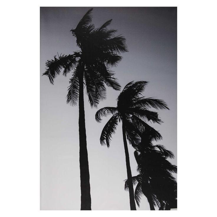 Toile imprimée palmier noir et ...