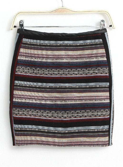 Multi Contrast PU Leather Striped Bodycon Skirt - Sheinside.com