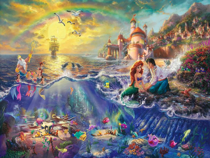 Thomas Kinkade Disney art the little mermaid, thomas