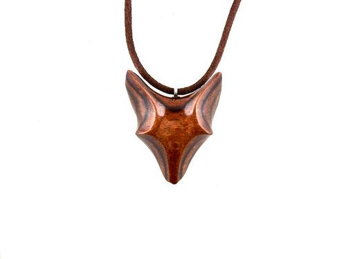 Fox Pendant, Fox Necklace, Fox Jewelry, Celtic Wooden Fox Pendant ...