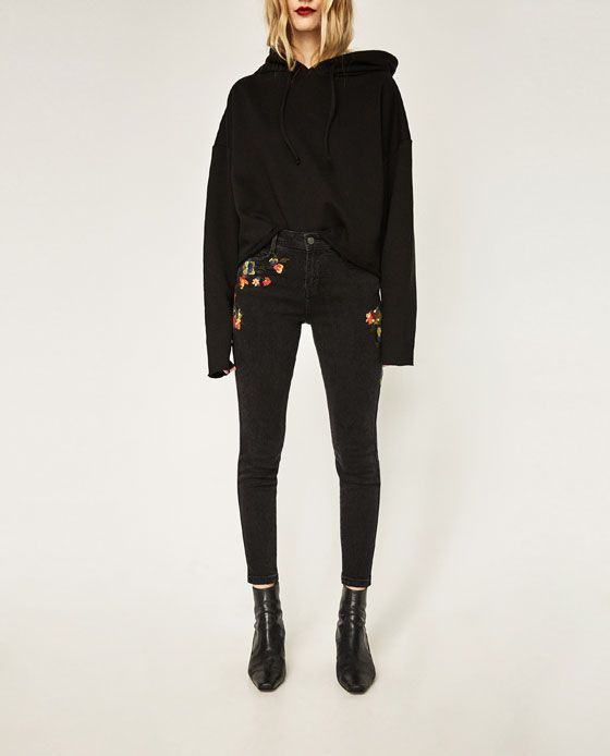 Image 2 of MID RISE EMBROIDERED SKINNY JEANS from Zara