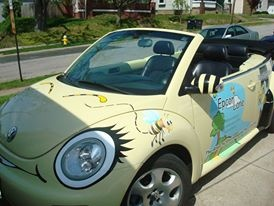 Epcon Lane is a pest control company that has local business in the Greater Akron area. Their sales reps drive VW Bugs - get it? Cool example of a custom vehicle wrap.