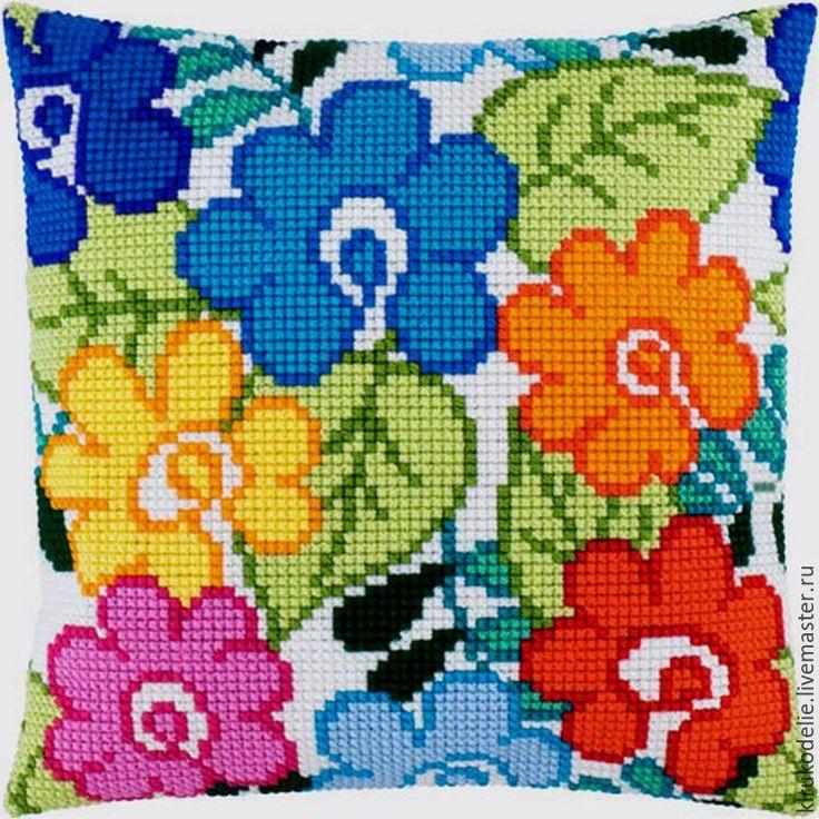 Купить Подушка вышивка на заказ - комбинированный, подушка, подушка с вышивкой, подушка декоративная, Вышивка крестом
