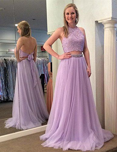 4da0bd4f25d Dressylady Lavender A Line 2 Piece Hater Beading Applique Backless Tulle  Long Prom Dress at Amazon Women s Clothing store