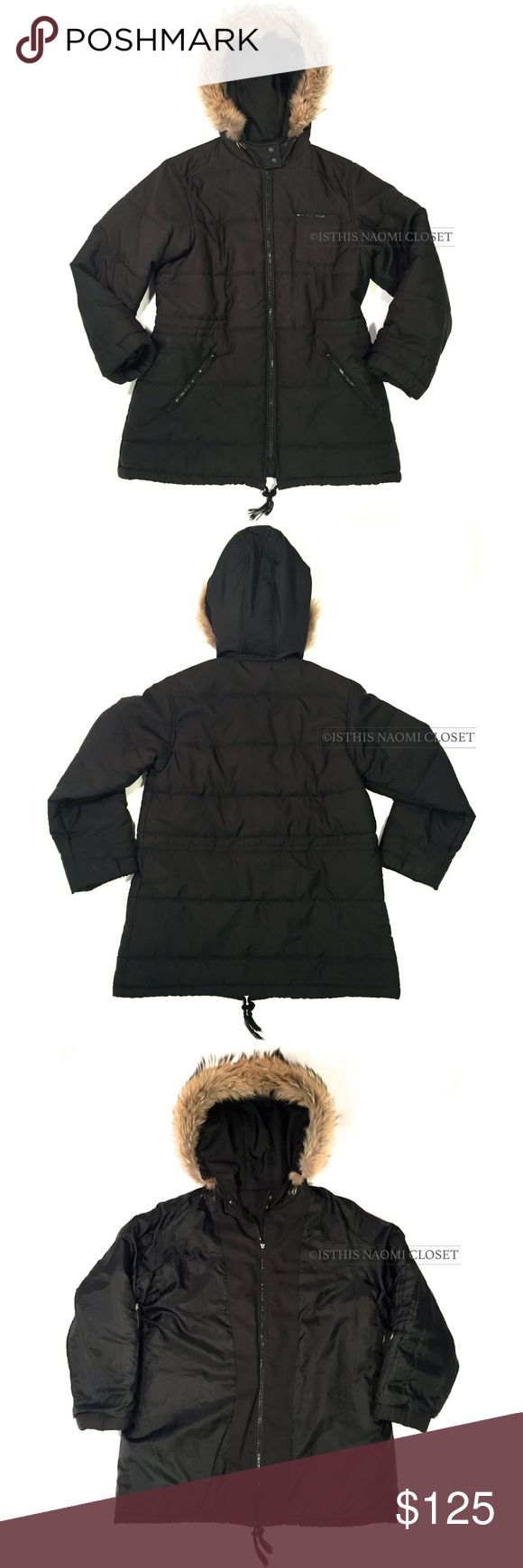 EMANUELE CURCI Italy Parka Fox Fur Hood 177. EMANUELE CURCI Made In Italy Black Parka Style Fox Hood Women M Coat. Black shell with one right breasted zip pocket with 2 front zip slant pockets. Thick down feather fill coat. Hood with fur seam with double button. No mid drawstring at waistline. Much wear, every zipper has wear, outer-shell wear and inner lining wear. HOWEVER CLEAN AND IN GREAT CONDITION Emanuele Curci Jackets & Coats Puffers