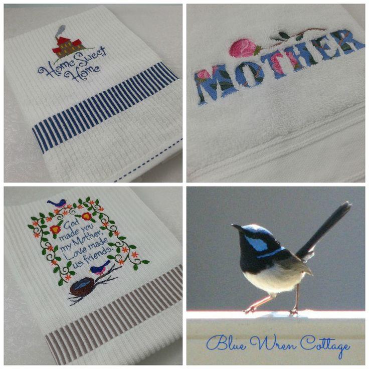 Beautiful hand towels for Mum. www.madeit.com.au/bluewrencottage