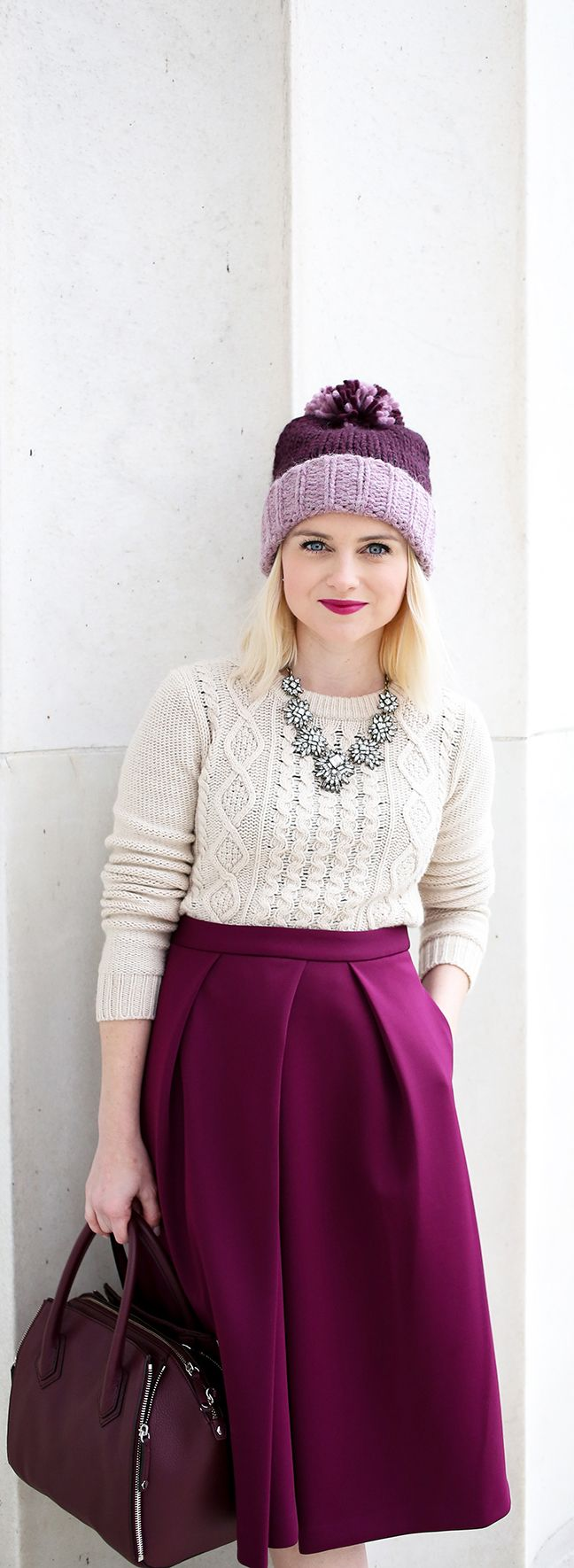 Best Places To Take Photos In Washington, DC - Lincoln Memorial Purple Beanie Hat For Winter - Midi Skirt Styling For Petite Girls - Poor Little It Girl