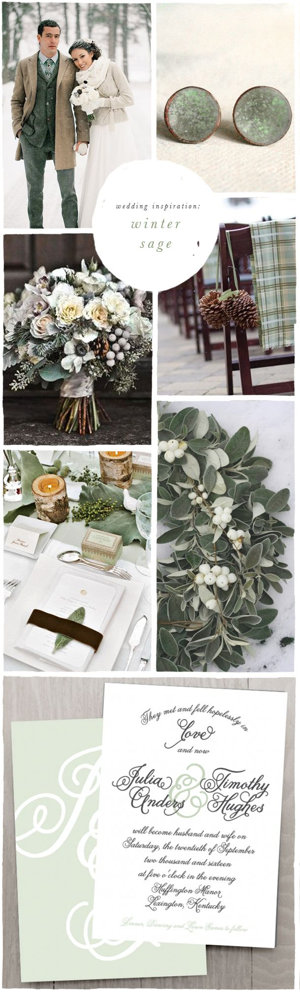 Winterhochzeit-Konzept in Braun und Grün – White and Soft sage, pale dusty green wedding