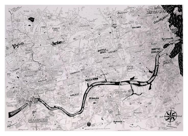 Newcastle to the coast map print / Lovely Jojo's