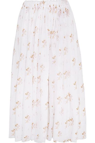 Emilia Wickstead - Gail Floral-print Cotton-voile Midi Skirt - White - UK8