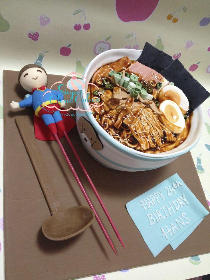 Ramen cake, super hero, noodle cake, noodle soup cake http://sugarcloudcakes.com.au