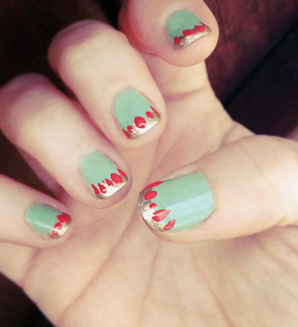 Mint french manicure with gold tip and coral tear drops