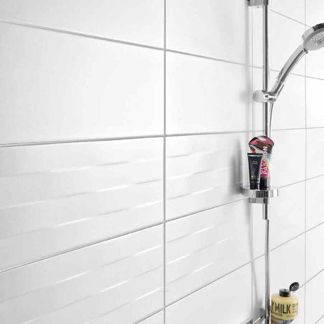 Carrelage mural blanc cortese 20 x 50 cm castorama sdb for Carrelage mural sdb
