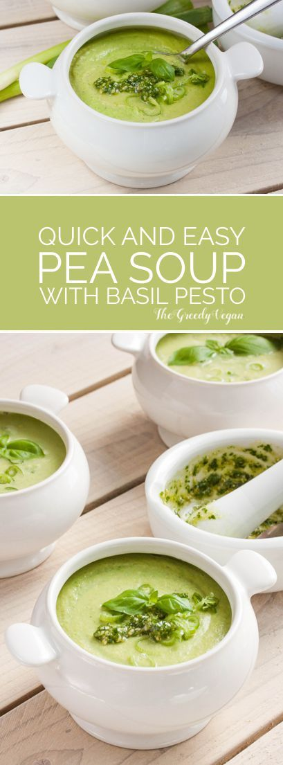 I love to serve this soup with pesto since it adds a nice touch to it, the freshness of the basil works wonderfully with the sweetness of the peas.