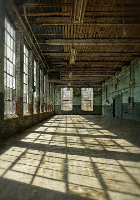 Interior of Glencoe Mill, an old cotton mill near Burlington, North Carolina, photographed by Dan Routh
