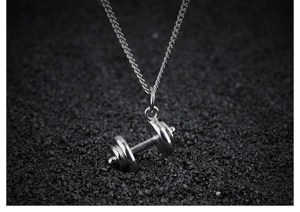 Stainless Steel Dumbbell Necklaces Jewelry (Black/ Silver & Gold)