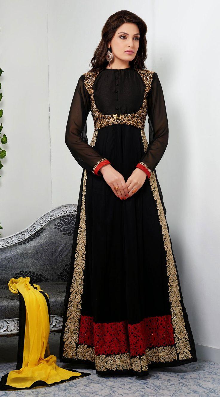 Black Abaya Style Long Shalwar Kameez BE0244