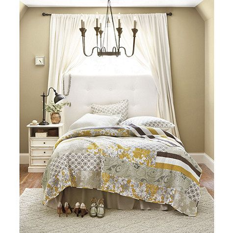Lorraine Quilted Bedding - chocolate brown, gray, white & dijon