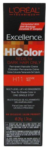 L'Oreal Excellence HiColor Intense Red 1.74 oz. Tube (Case of 6). Permanent Hair Color for Professional use only. The no-drip, easy-to-use creme formula protects and pampers hair during and after processing. See full Instructions printed inside of the carton.