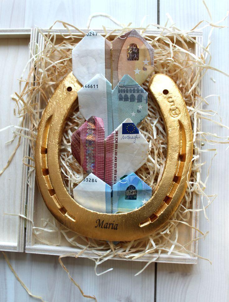 Personalisiertes Geldgeschenk Vergoldetes Hufeisen Mit Gravur