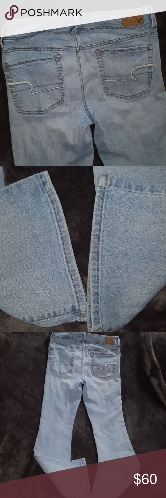 ⬇️$36 KICK BOOT Stretch Light American Eagle Jean KICK BOOT Super Stretch Light American Eagle Jeans ~ New without Tags ~ Size 8 regular Ladies ~ 71% cotton 14% polyester 14% viscose 1% elastane. Light wash with lighter whiskered in front and legs. I ship daily. Rise: about 8.5 inches Inseam: about 30.5 inches. American Eagle Outfitters Jeans Boot Cut