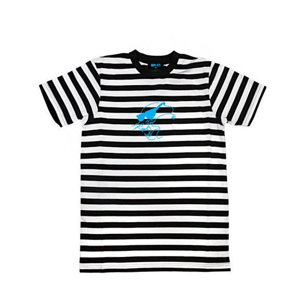 RP-13 x G-EAZY STRIPE TEE ($50) ❤ liked on Polyvore featuring tops, t-shirts, embroidered t shirts, cotton t shirt, slim fit t shirts, slim fit tee and unisex t shirts