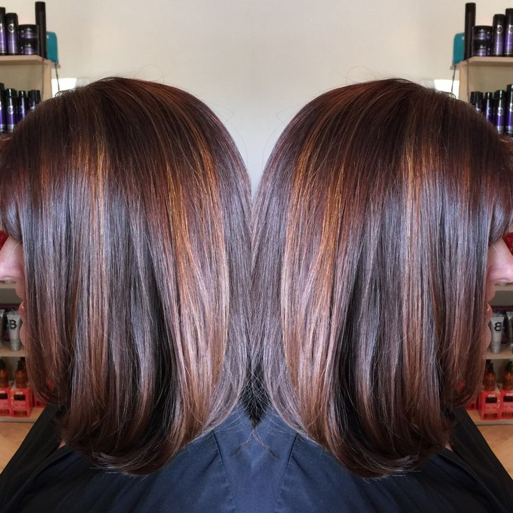 25 unique red brown highlights ideas on pinterest red hair dark red brown base with penny copper highlights long bob by denise suttlemyre pmusecretfo Image collections