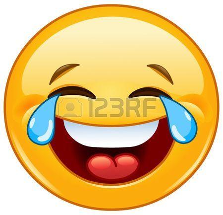 Riendo emoticon con l grimas de alegr a Foto de archivo