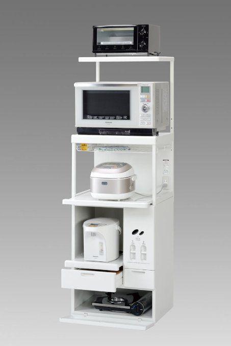 エムケー 上棚付レンジ台(米びつ10kg付) 【キャビー】 収納庫タイプ ホワイト CHU-206W