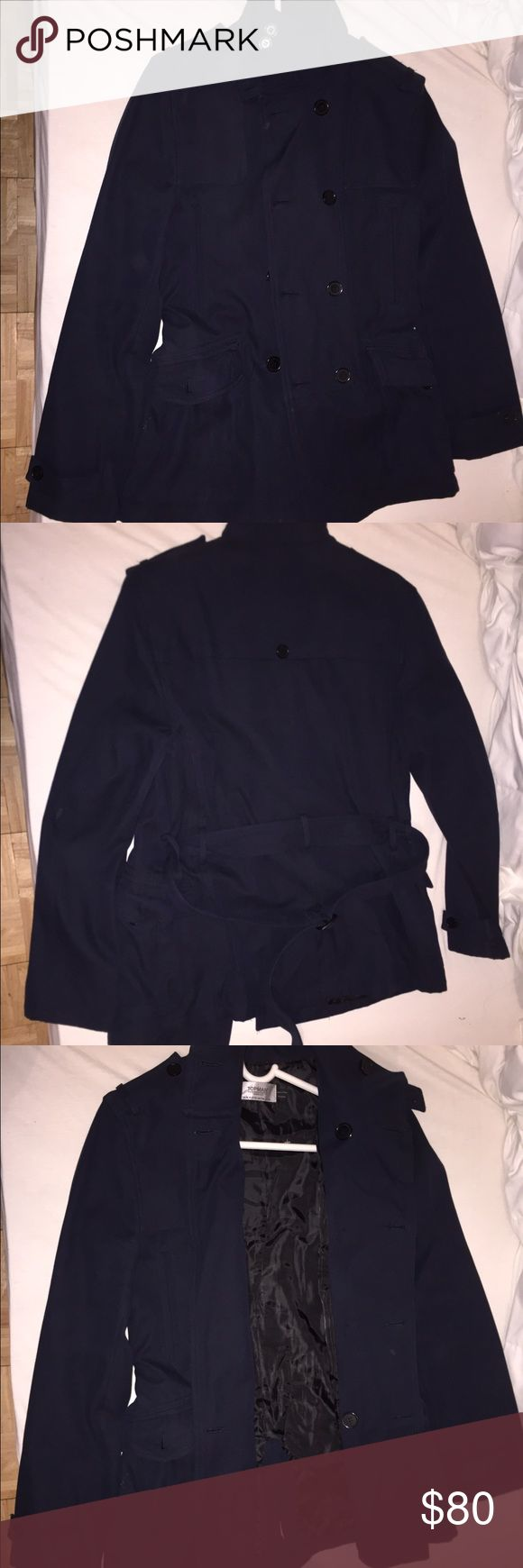 Navy blue trench coat Navy blue trench, dark in color, military shoulder straps and sits right below arms length,  great for work days or weekends! Topman Jackets & Coats Trench Coats