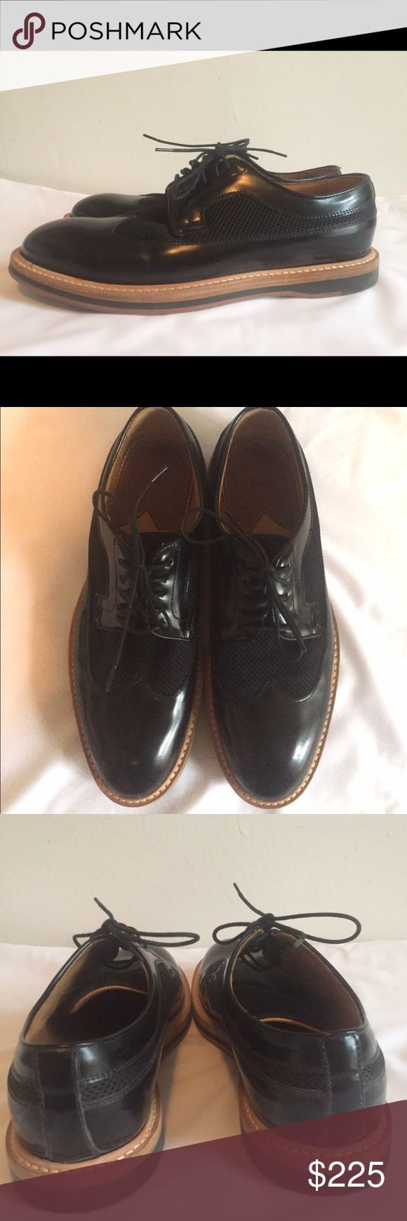 Paul Smith Women's Oxfords 38.5 Black Leather Paul Smith Women's Oxfords 38.5 Black Leather with fabric mesh. Made in Italy. Light brown wood soles. Worn a few time, slight wear on soles. No box. Paul Smith Shoes Flats & Loafers
