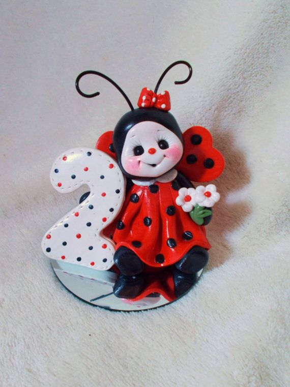 LADYBUG CAKE TOPPER: Christmas ornament,  lady bug birthday cake topper,  2, 2nd, second birthday, polymer clay personalized childrens gift