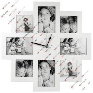 Деревянная настенная фоторамка, рамка для 8 фотографий, мультирамка, Deknudt, РАМКА-ЧАСЫ, белая. Купить. Интернет-магазин фотоальбмов, фоторамок