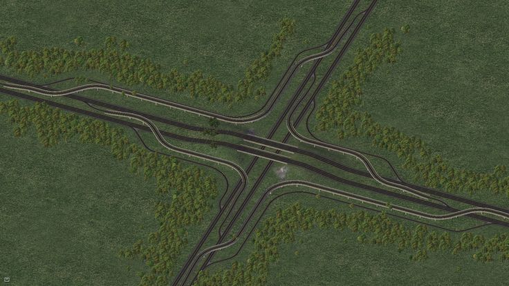 Beautiful 4-way highway interchange (SimCity 4)