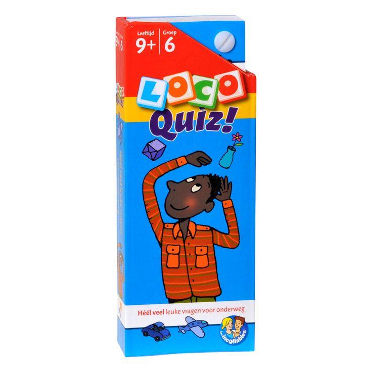 Héél veel leuke vragen voor onderweg over taal, rekenen, geschiedenis, natuur en allerlei andere voorwerpen.Met Loco Quiz oefenen kinderen op een andere en leuke manier met wat ze op school geleerd hebben. Kinderen controleren zelf of ze de vragen goed hebben gemaakt.Inhoud hard kartonnen doosje: waaier van vragenkaarten en antwoordkaarten.Afmeting: 17,5 x 7 cm. - Loco Quiz Leeftijd 9+ Groep 6