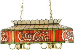 """Meyda 29262 Coca Cola Pool Table or Island Double Downlight 24"""" L Coca-Cola Oblong Pendant Meyda Tiffany's roots date back to it's Quality Bent Glass division, established in the early 1900's as a lighting supplier to Tiffany Studios. The firm also created the original Coca-Cola stained glass. Polished brass, Beige, Banner Red, and Green stained art glass. Brand Lighting Discount Lighting - Call Brand Lighting Sales 800-585-1285 to ask for your best price!"""